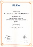 EPSON CERTIFICATE